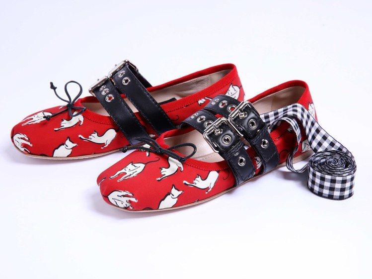 台中店開幕限定,貓咪圖紋芭蕾舞鞋,28,000元。圖/MIU MIU提供