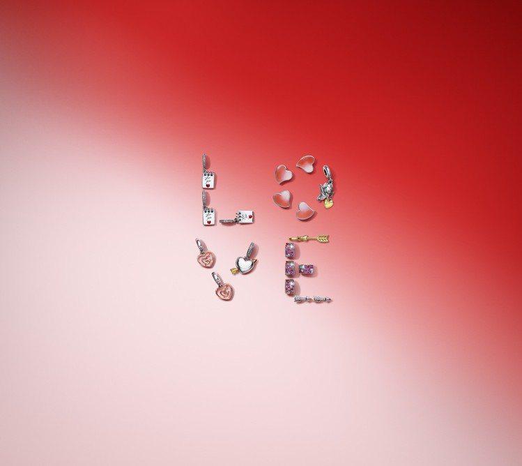 PANDORA情人節系列推出多款經典愛心以925銀點綴多色鋯石及手工琺瑯的串飾。...