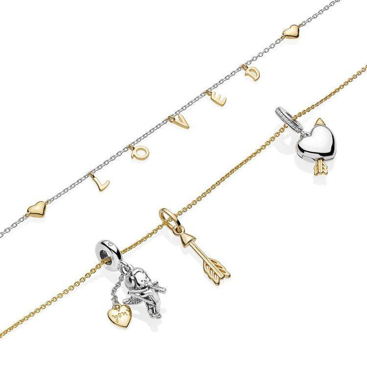 PANDORA情人節系列以純銀搭配PANDORA Shine鍍18K金材質打造。...