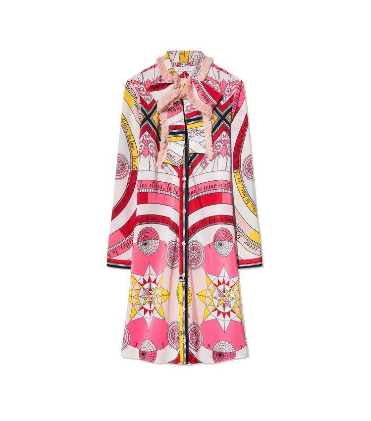 玫粉紅星盤圖騰蠶絲洋裝,26,900元。圖/Tory Burch提供
