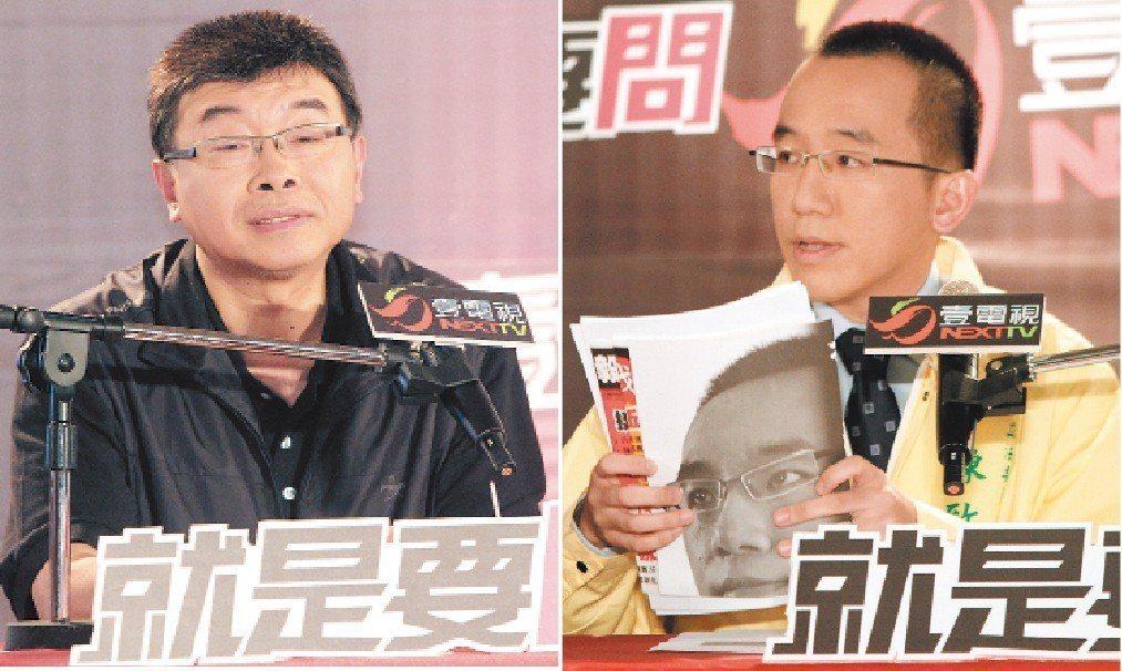 參選立委的邱毅(左)、陳致中當年辯論,陳致中帶許多文件到場,邱毅相對顯得輕鬆。圖...