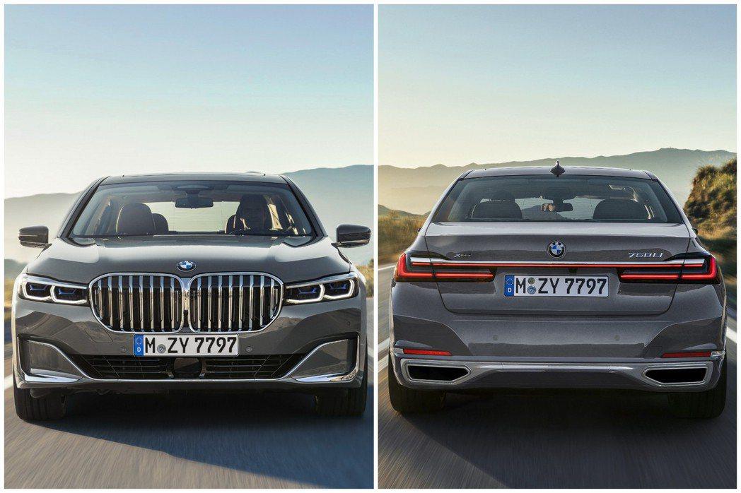 小改款BMW 7 Series車頭與車尾。 摘自BMW