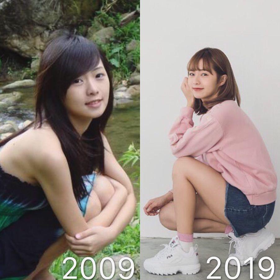 簡廷芮曝10年照片對比照。圖/擷自IG