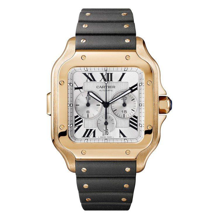 卡地亞Santons De Cartier計時碼表,大型款,18K玫瑰金表殼,約...