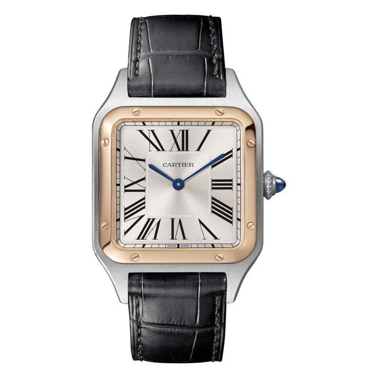 卡地亞Santos-Dumont腕表,大型款,18K玫瑰金與精鋼表殼,約18萬,...