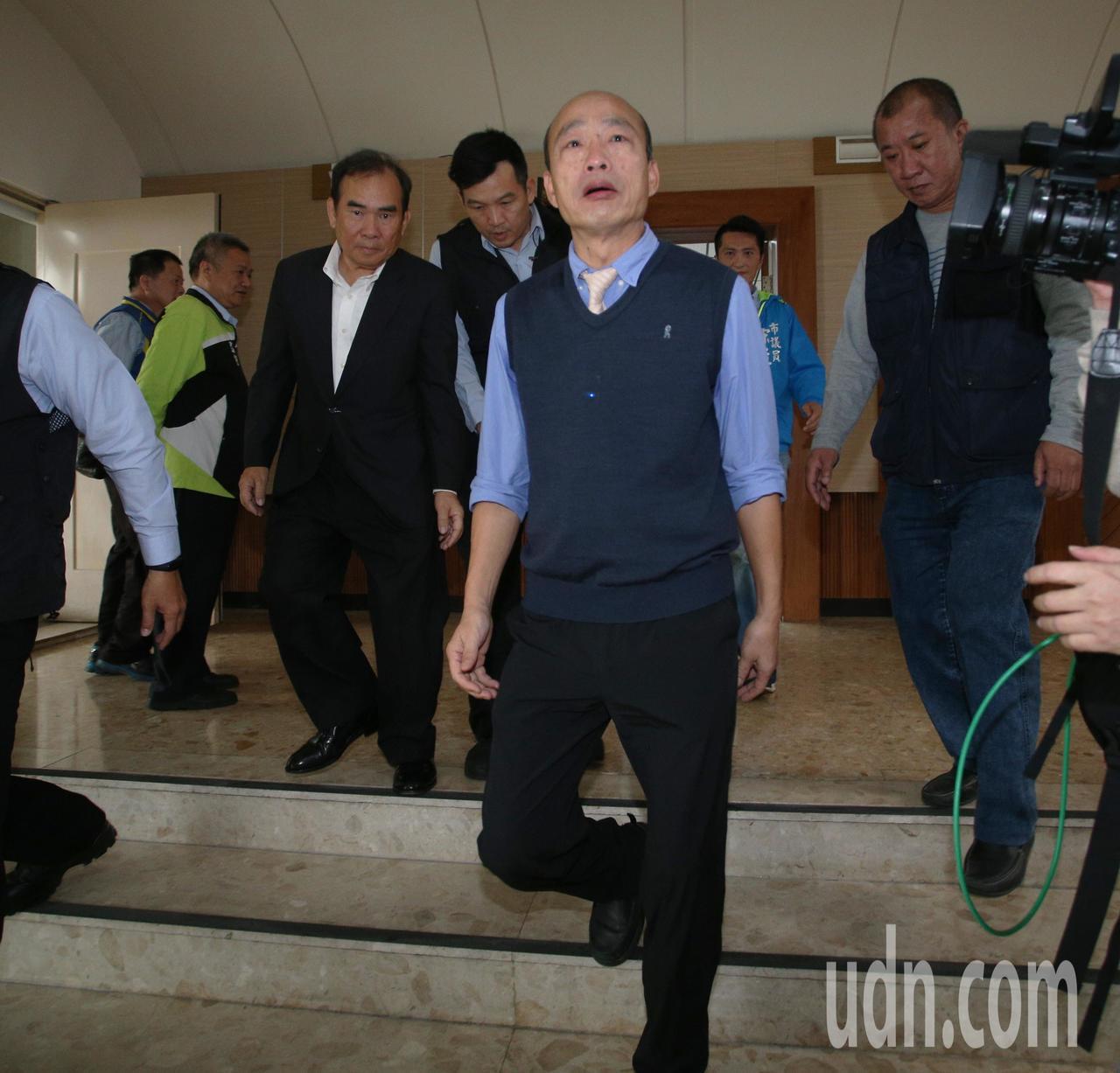 高雄市長韓國瑜今天上午首度進議會接受質詢。記者劉學聖/攝影