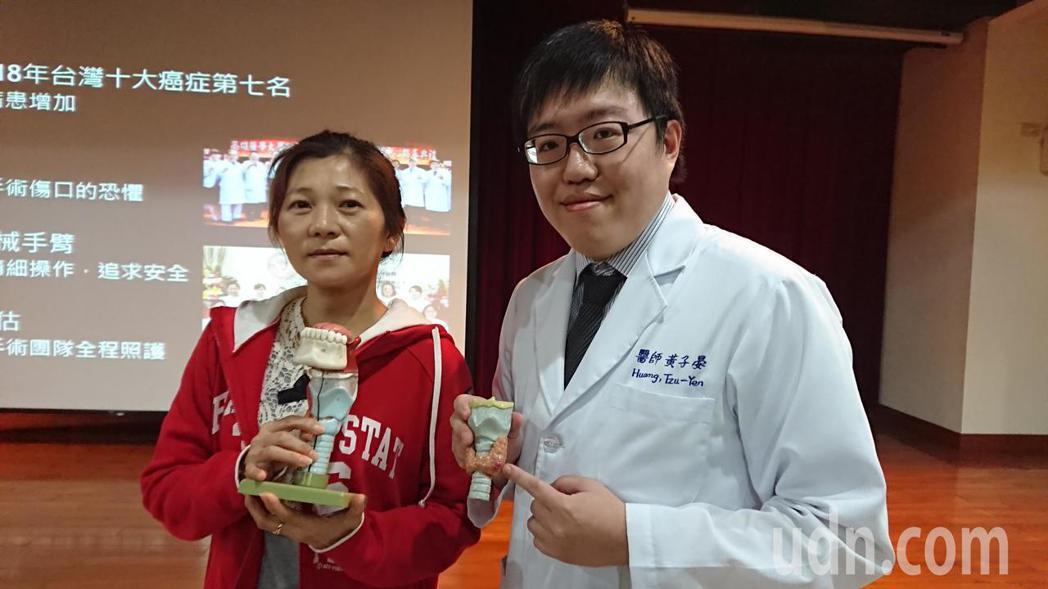 吳小姐(左)的甲狀腺瘤讓她晚上睡覺覺得脖子受壓迫,一度以為「鬼壓床」,接受經口達...