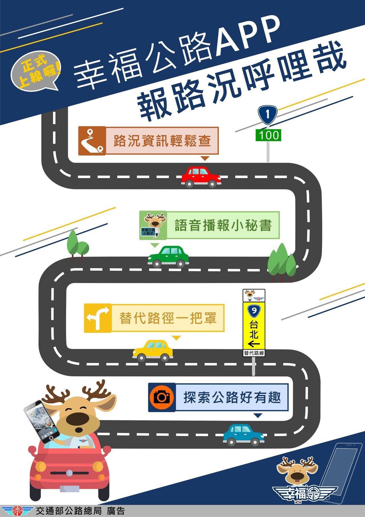 為了讓民眾更快速掌握最新交通資訊,公路總局今年推出「幸福公路」APP。圖/公路總...