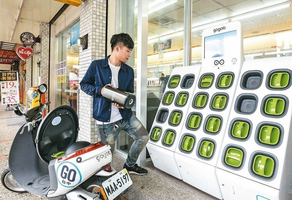 圖為電動機車的電池交換站。圖/聯合報系資料照片