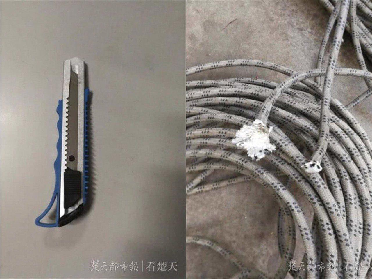 周姓師傅備用安全繩索遭割斷。圖/翻攝自楚天都市報
