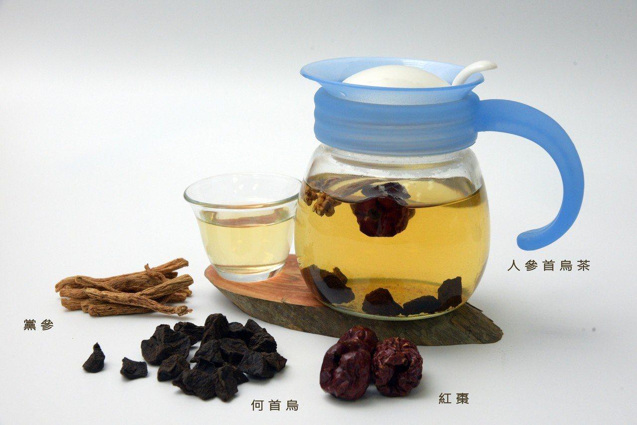 虛秘型的便秘可飲用「人參首烏茶」。圖/大林慈濟醫院提供