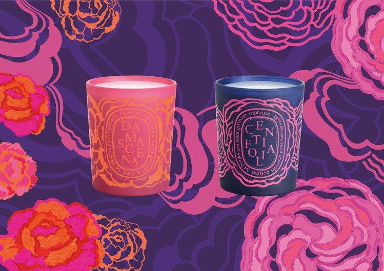 diptyque 2019情人節限量版大馬士革玫瑰香氛蠟燭、千葉玫瑰香氛蠟燭。圖...