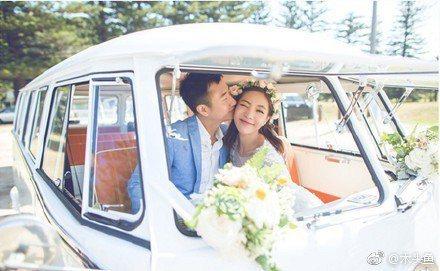 鄧家佳當年和老公在澳洲辦婚禮。圖/摘自微博