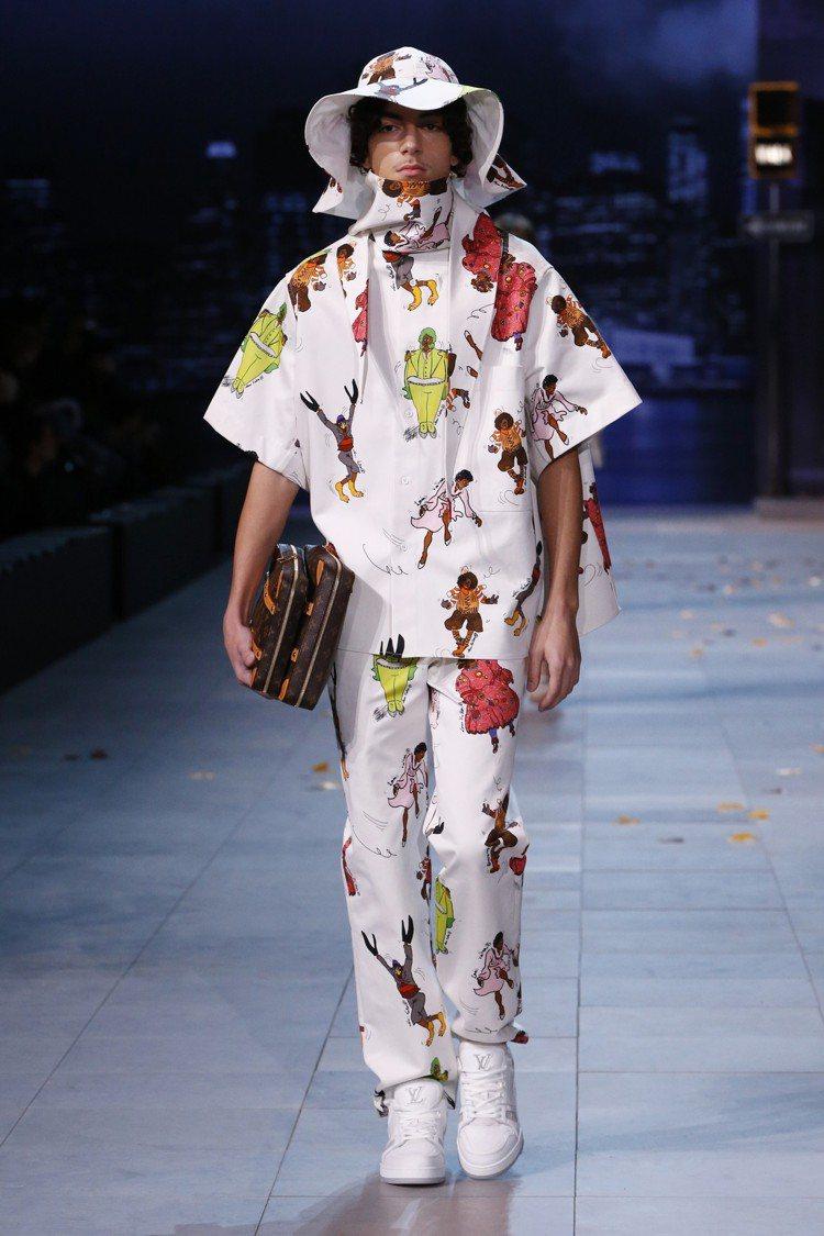 塗鴉與卡漫也成為路易威登2019秋冬男裝的印花表現。圖/LV提供