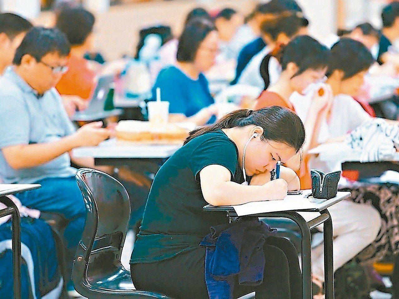 中醫師考試分階段考試、營養師、心理師、護理師、社會工作師考試今、明兩天登場。 圖...