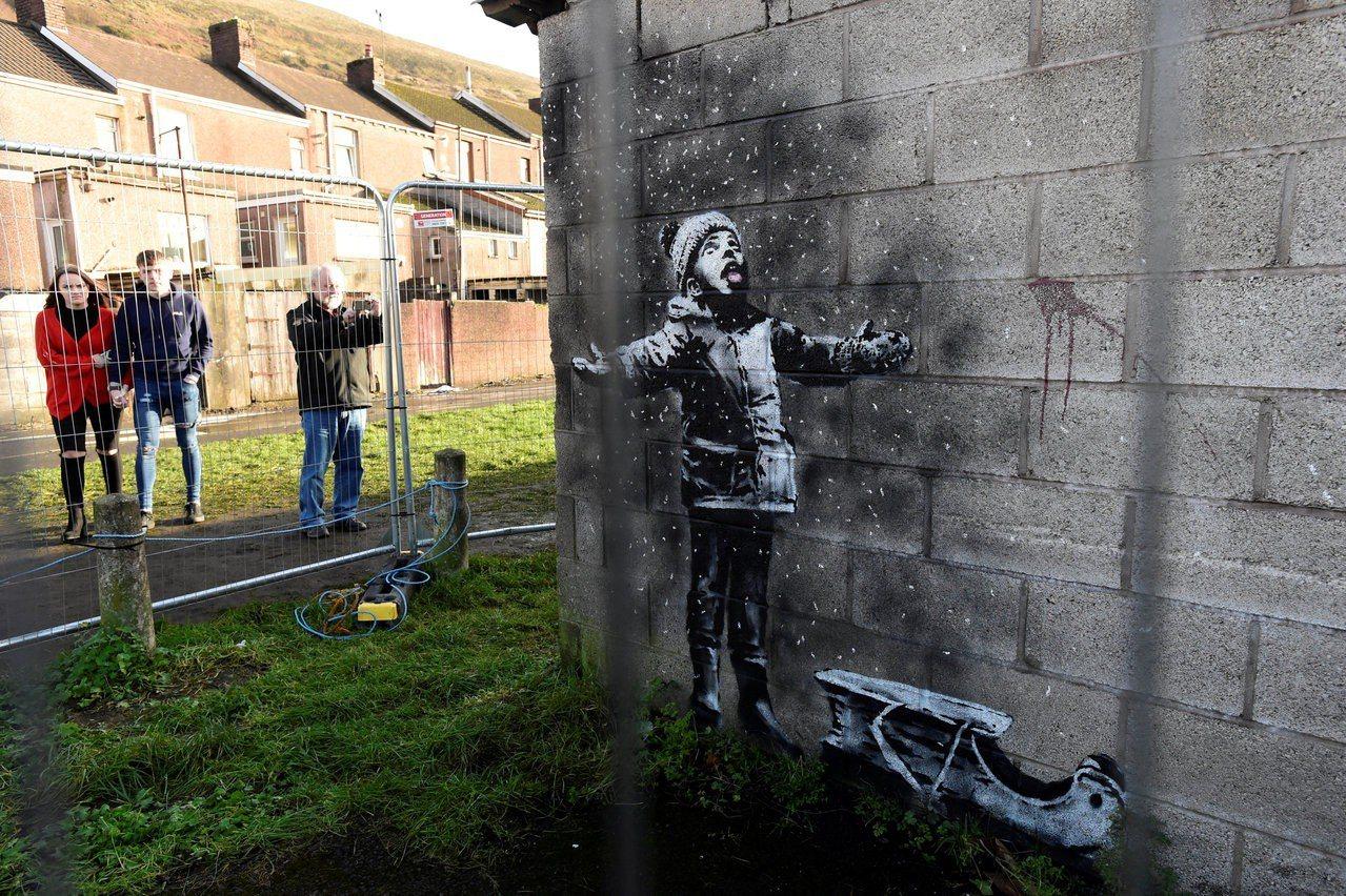 當班克西的塗鴉作品去年12月疑似出現在英國威爾斯南部小鎮塔巴特港(Port Ta...