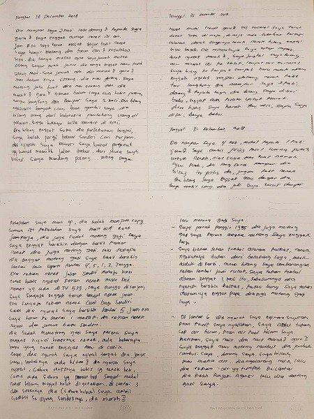 阿娣寫下每次遭僱主虐待的過程。圖/新北勞工局提供