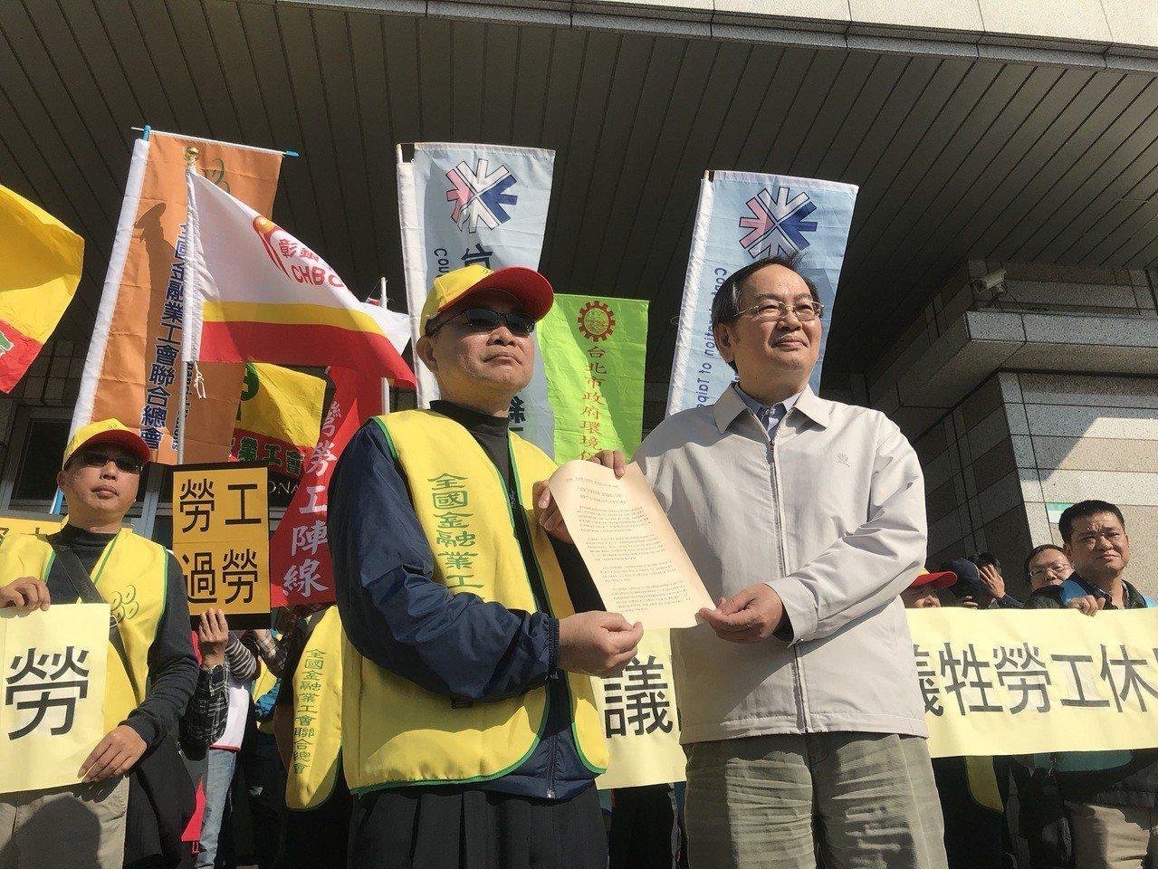 台灣勞工陣線、全國金融業工會聯合總會、台北市產業總工會、高雄市產業總工會今到國發...