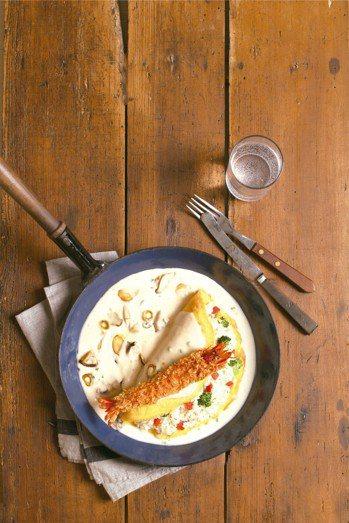 白醬鮮蝦歐姆蛋 圖/皇冠提供