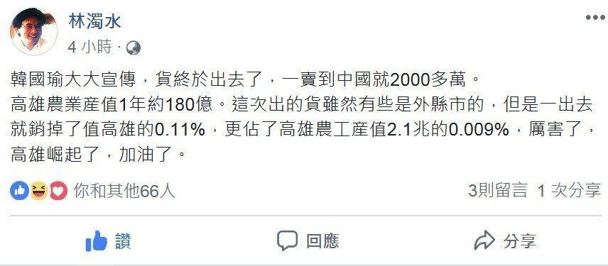 林濁水終於讚韓國瑜「厲害了」 高雄首批貨賣福建2千萬