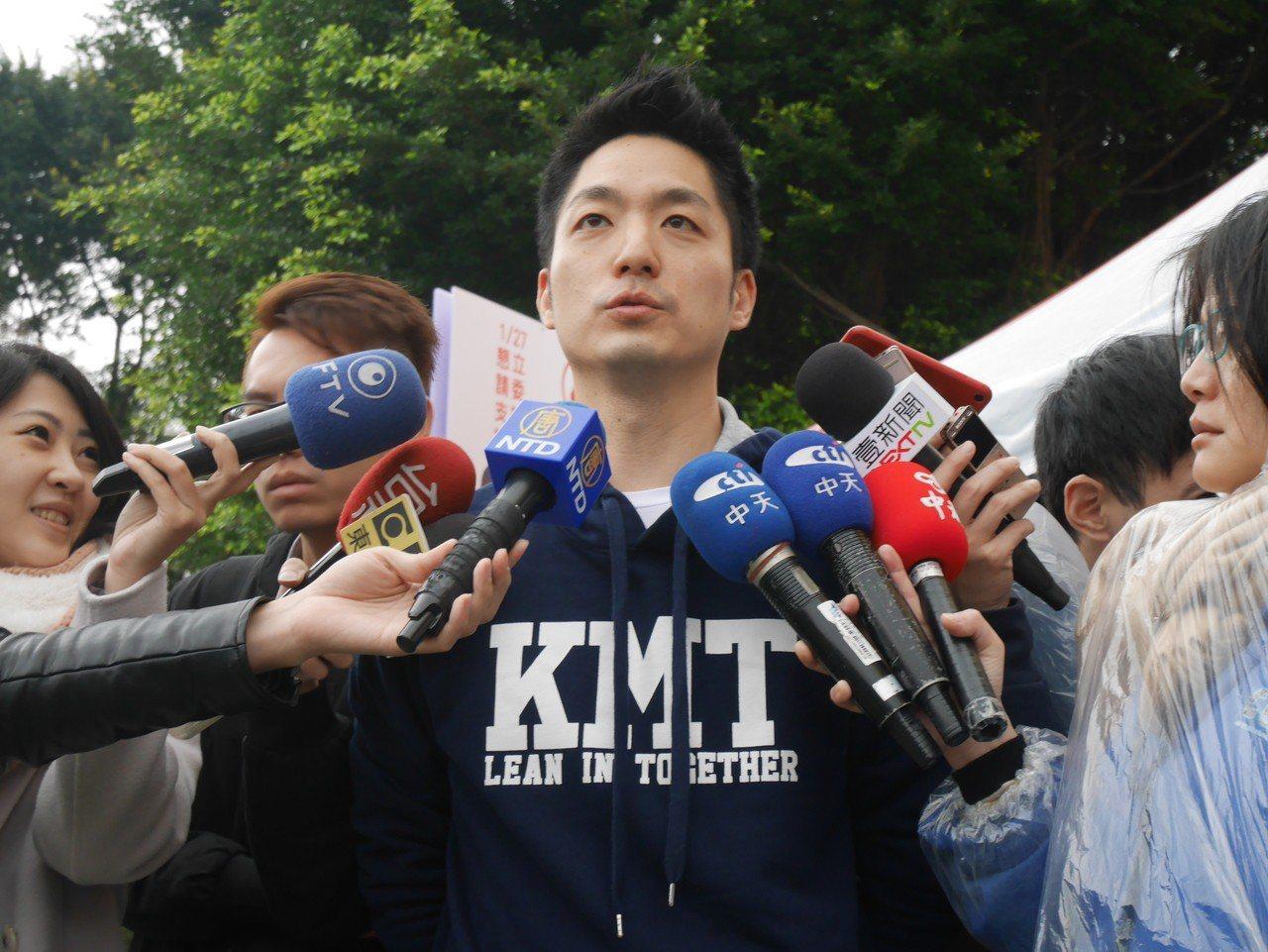 蔣萬安今下午出席陳炳甫造勢大會。記者陳靖宜/攝影