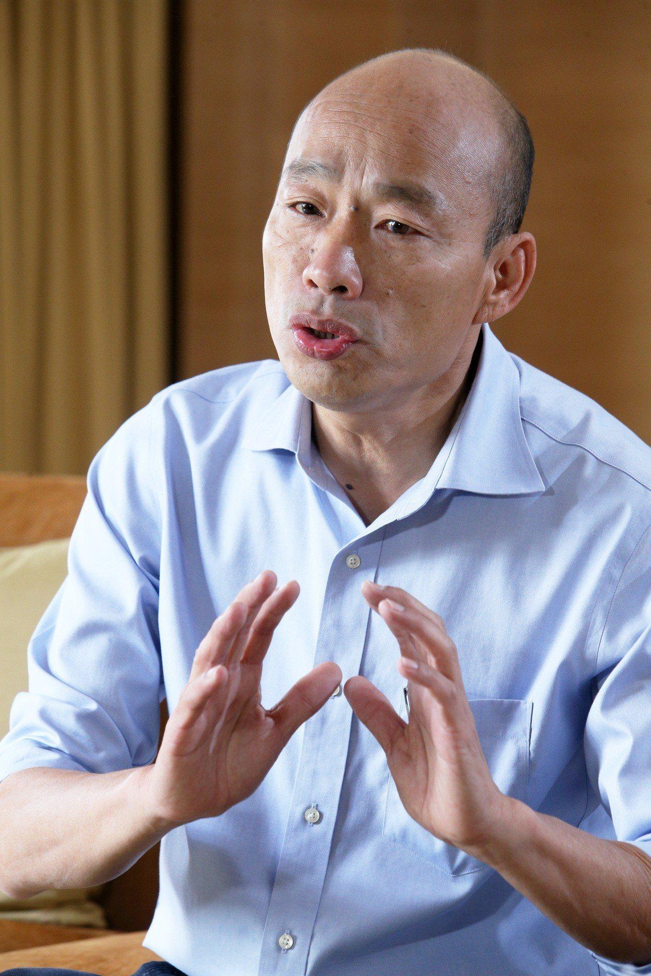 高市長韓國瑜今出席「台灣女子高球公開賽」時,受訪談到當時在台北被逼退過程。圖/本...