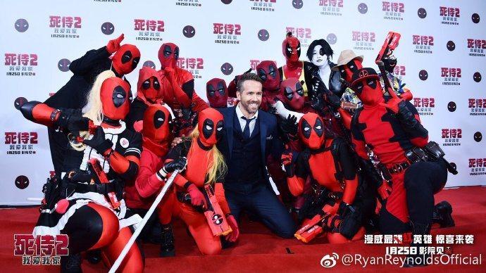 萊恩雷諾斯正在北京宣傳「死侍2:我愛我家」。圖/摘自微博