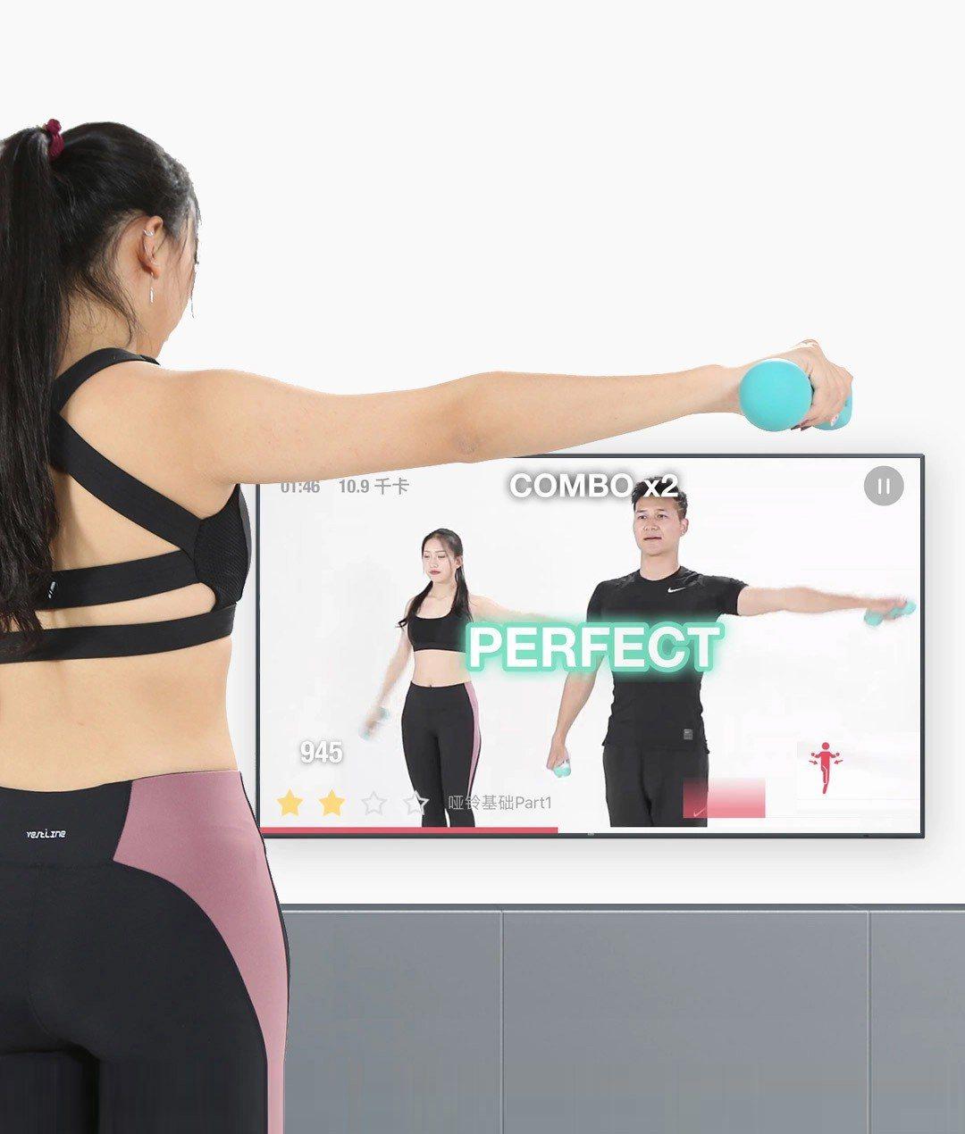 將App課程投放到電視,讓家裡就像健身房。圖/好玩國際提供