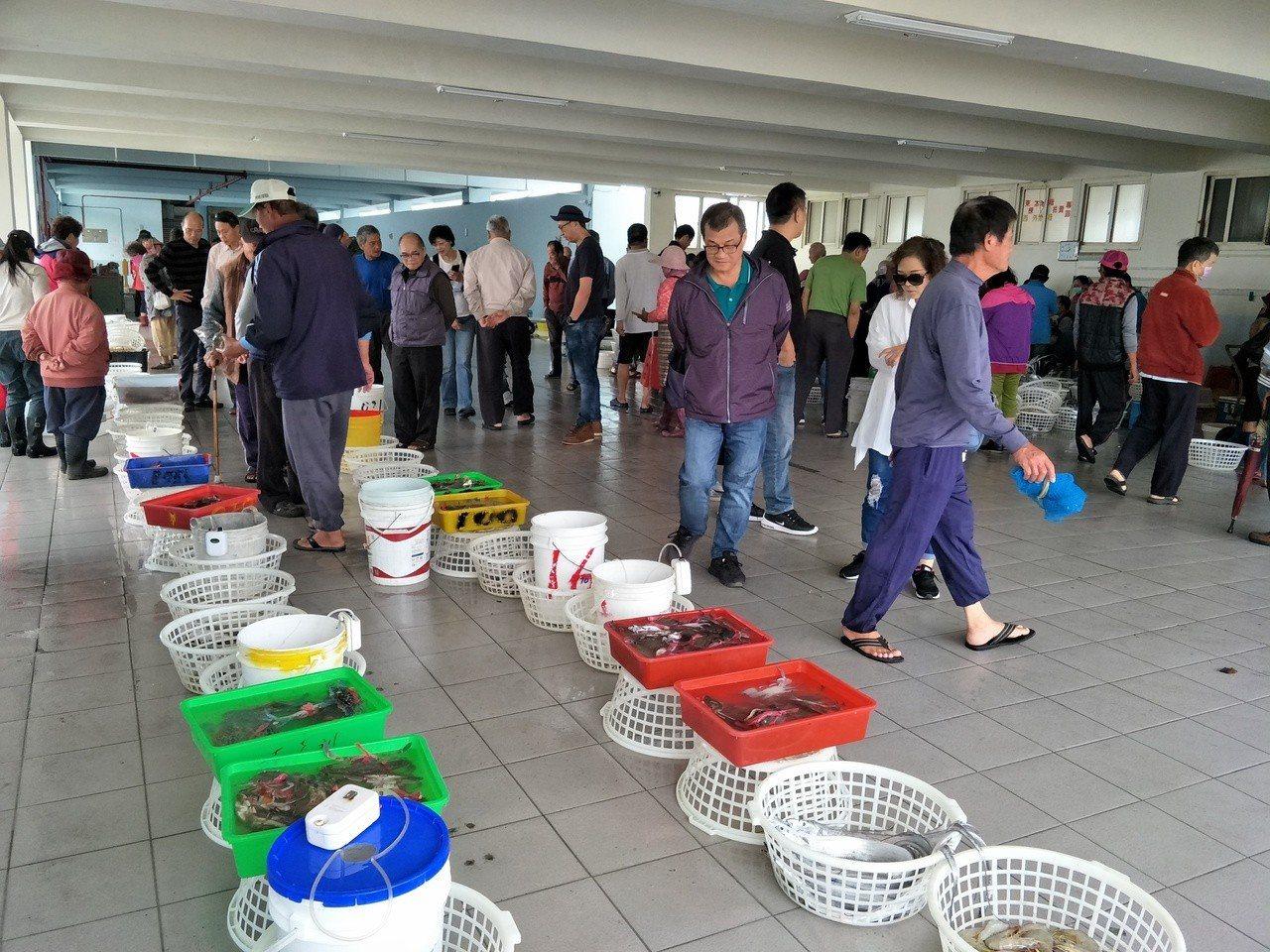 台南將軍青山漁港拍賣場各類魚貨魚貫等待拍賣。記者謝進盛/攝影