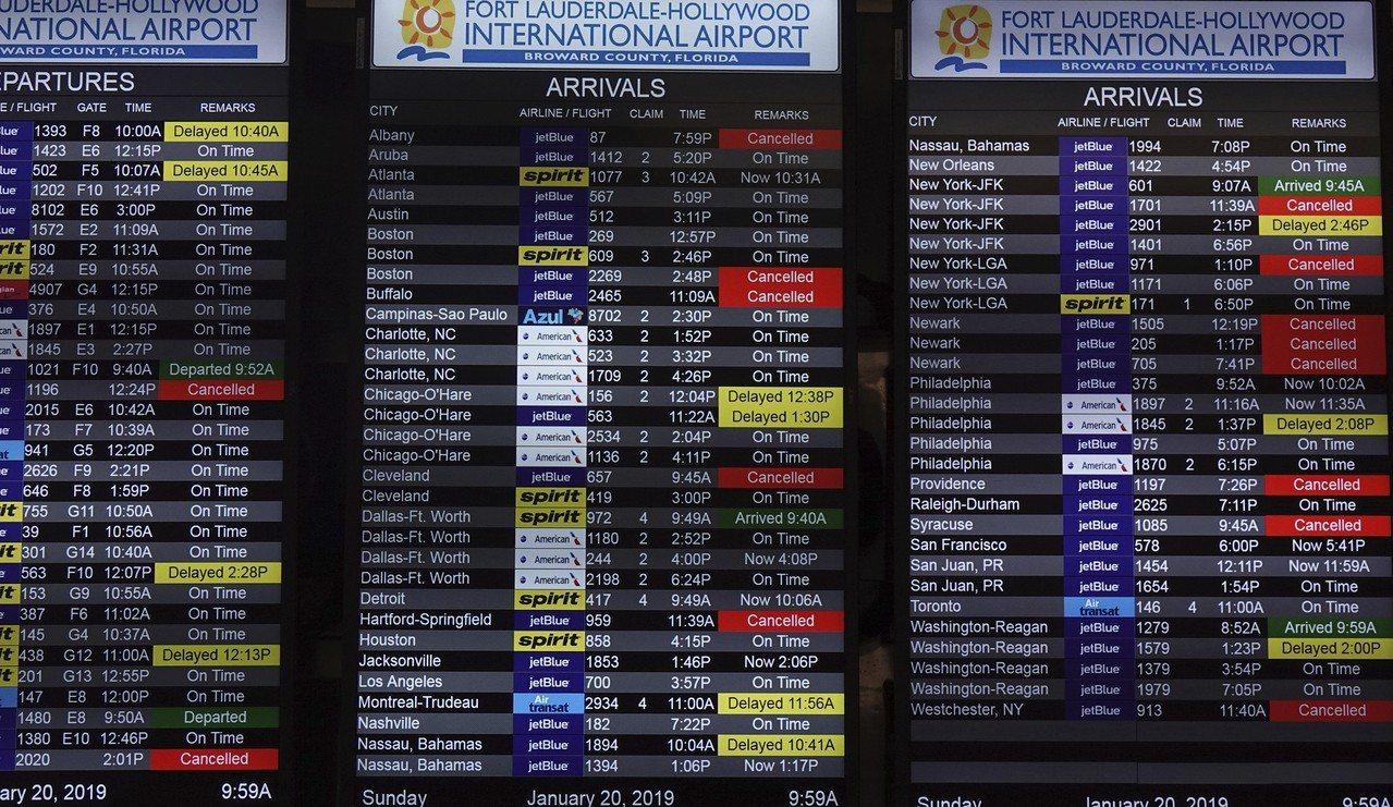 全美20日各地近5000航班因為風雪而取消,各機場秩序大亂。美聯社