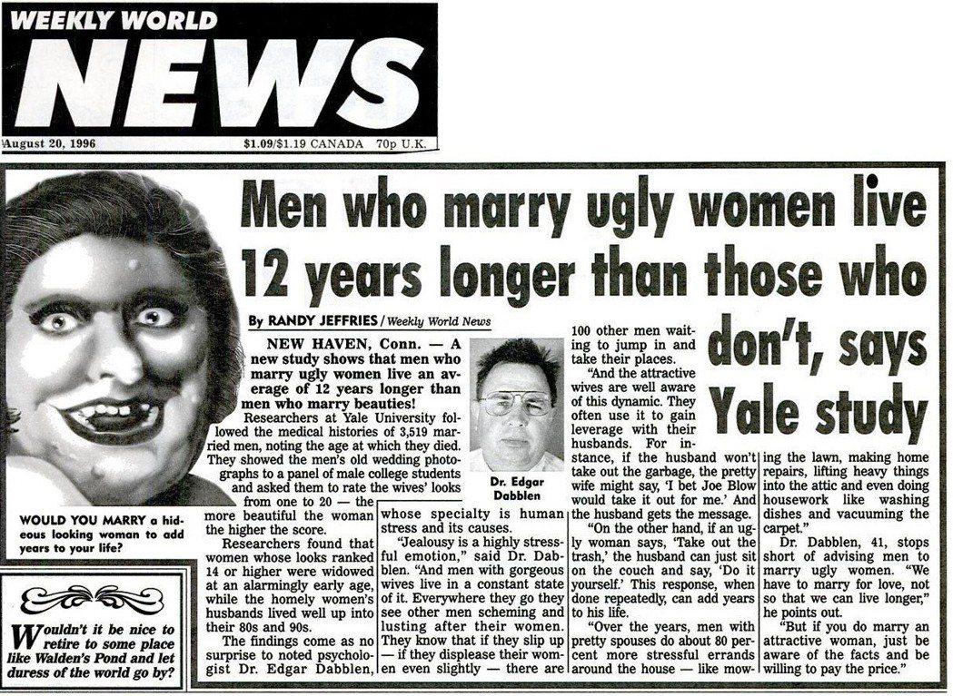 WWN在1996年8月20日關於「美女研究」的報導。 圖/《世界新聞週報》
