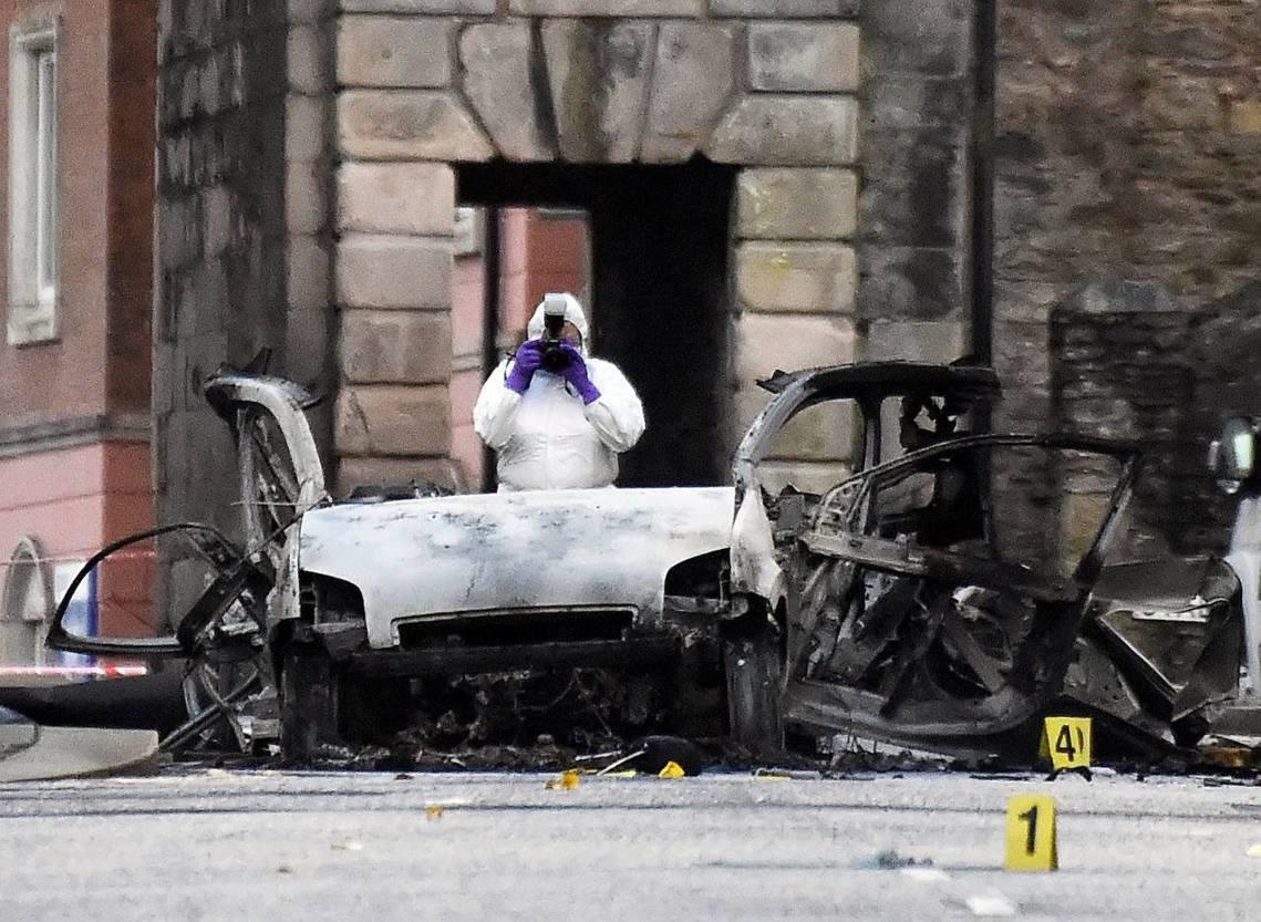 北愛爾蘭一起汽車爆炸案,在脫歐動盪之際,再次觸動北愛與英國的政治敏感神經。 圖/...