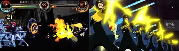 《骷髏少女》中的彈幕亂射(左)和《Re:甜心戰士》中的雜兵亂射(右)。