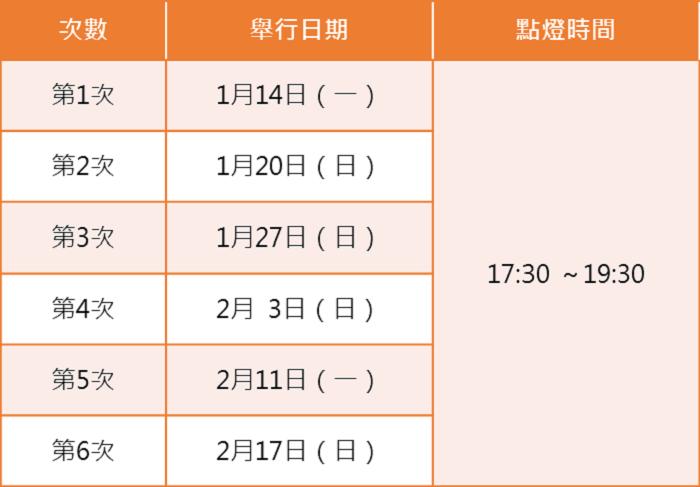 2019年點燈日期。 圖/shirakawa-go.gr.jp