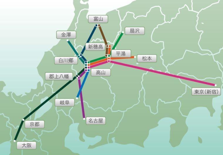 前往白川鄉合掌村之交通方式。 圖/www.nouhibus.co.jp/ch_h...