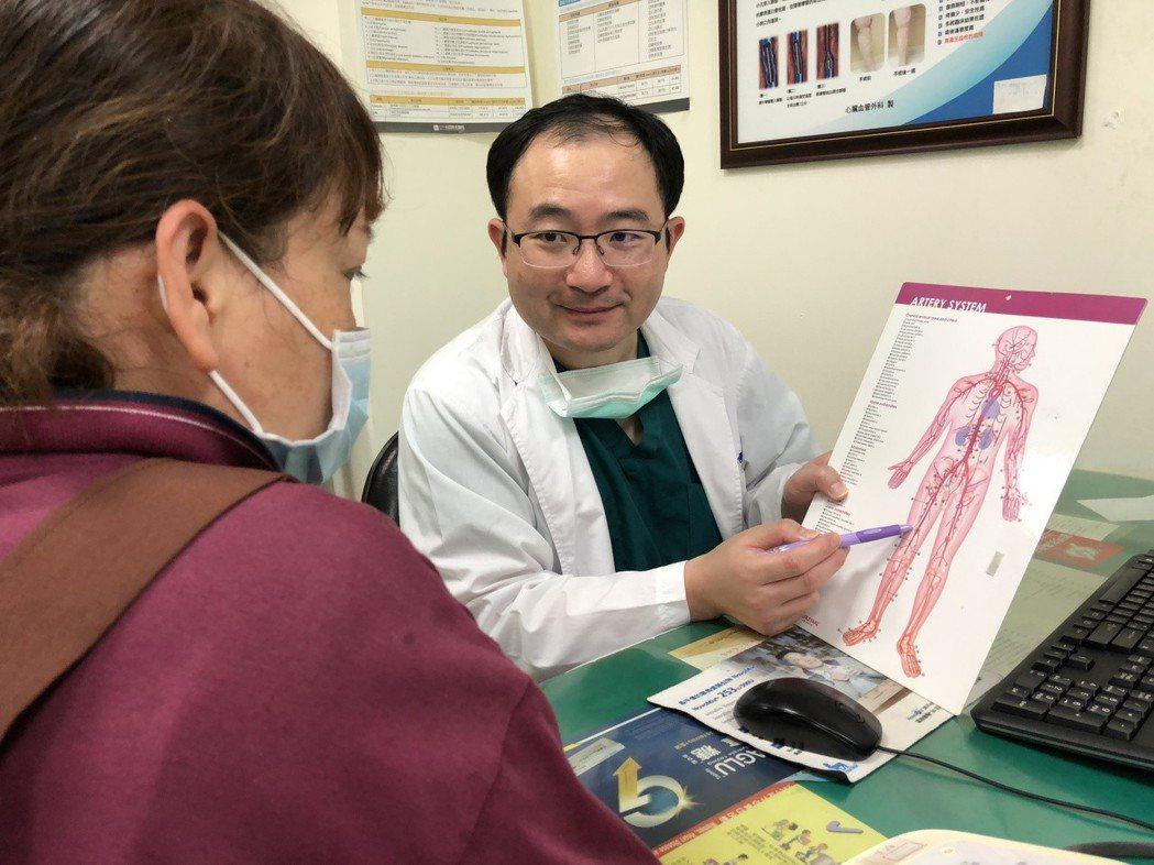光田綜合醫院心臟外科醫師蘇銓男說明膕動脈位置(圖中病人非當事人)。記者余采瀅/攝...