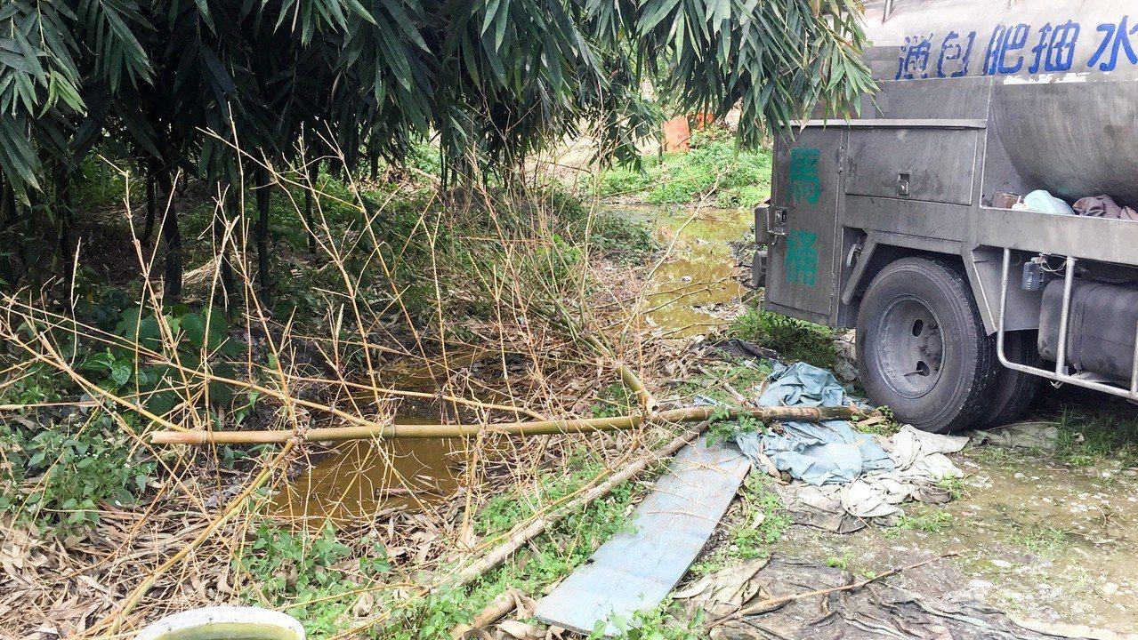 林姓男子及葉姓女子準備將2噸水肥倒入種植竹筍、木瓜及香蕉等作物的農地,卻被警方及...