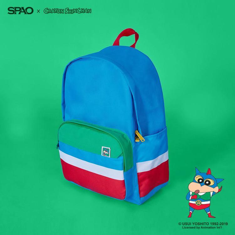 SPAO與人氣卡通「蠟筆小新」聯名,推出一系列後背包,價格親民。圖/摘自face...