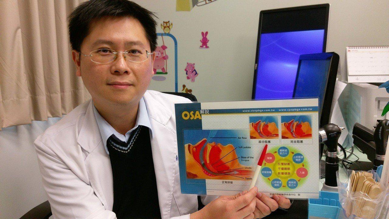 台中市長安醫院小兒科醫師陳震南指出,睡眠呼吸中止症會讓小孩智能發展遲緩或併發其它...