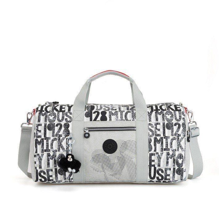 Kipling米奇90周年限定系列復古灰米奇剪影圓筒行李袋,4,380元。圖/K...