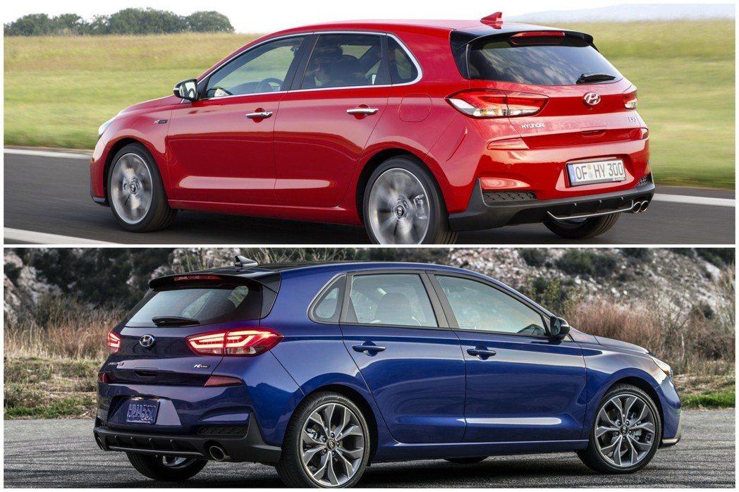 紅色塗裝為歐規Hyundai i30 N Line,藍色塗裝為北美Hyundai...