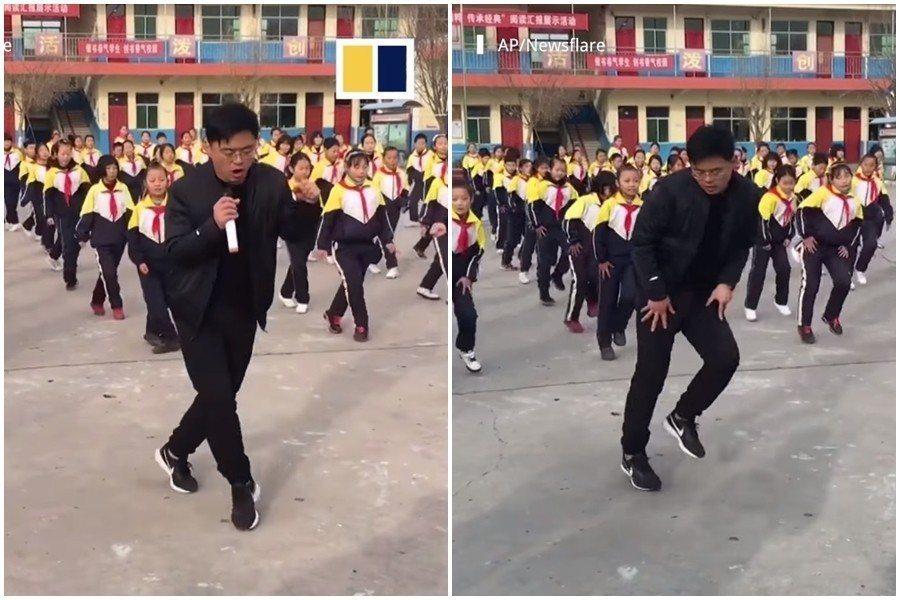 中國山西某國小校長自學鬼步舞帶動全校師生一起做健康操 圖片來源/爆笑公社