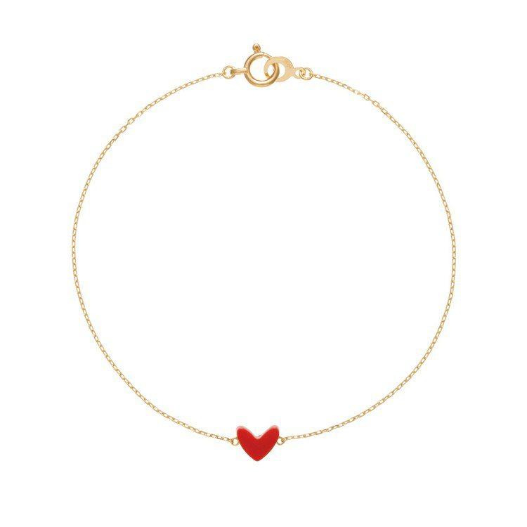 AHKAH thiran heart 手鍊,18K黃金鑲嵌人造珊瑚,12,700...