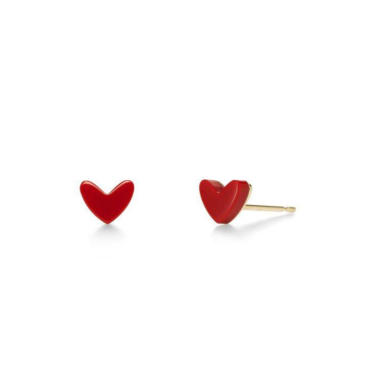 AHKAH thiran heart 耳環,18K黃金鑲嵌人造珊瑚,12,000...