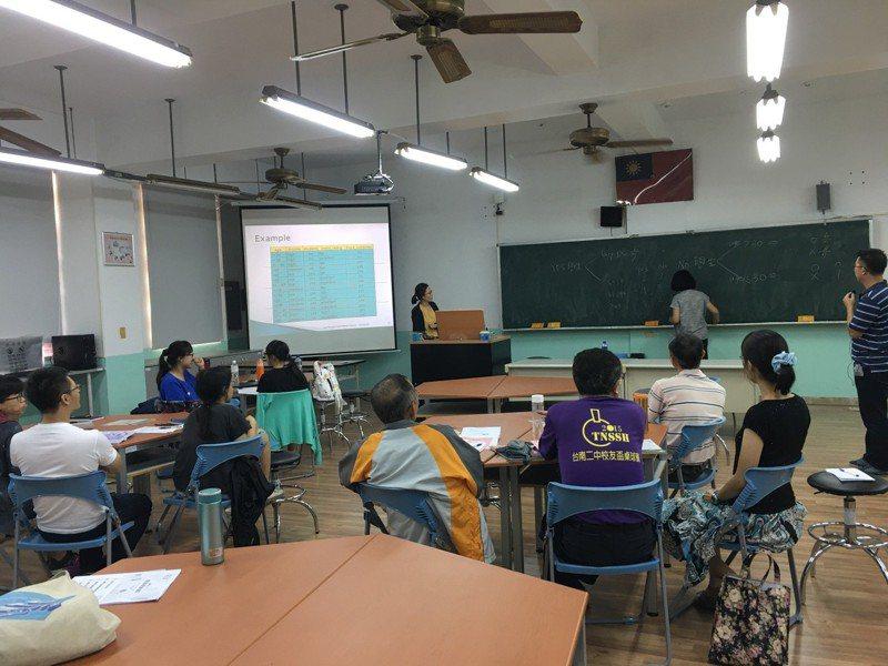 去年暑假先由成大電機系教授幫台南二中的資訊科和數學科老師上課增能,「上的是大學的AI課」,再由高中老師開發出一套對高中生的課程。圖/涂益郎提供