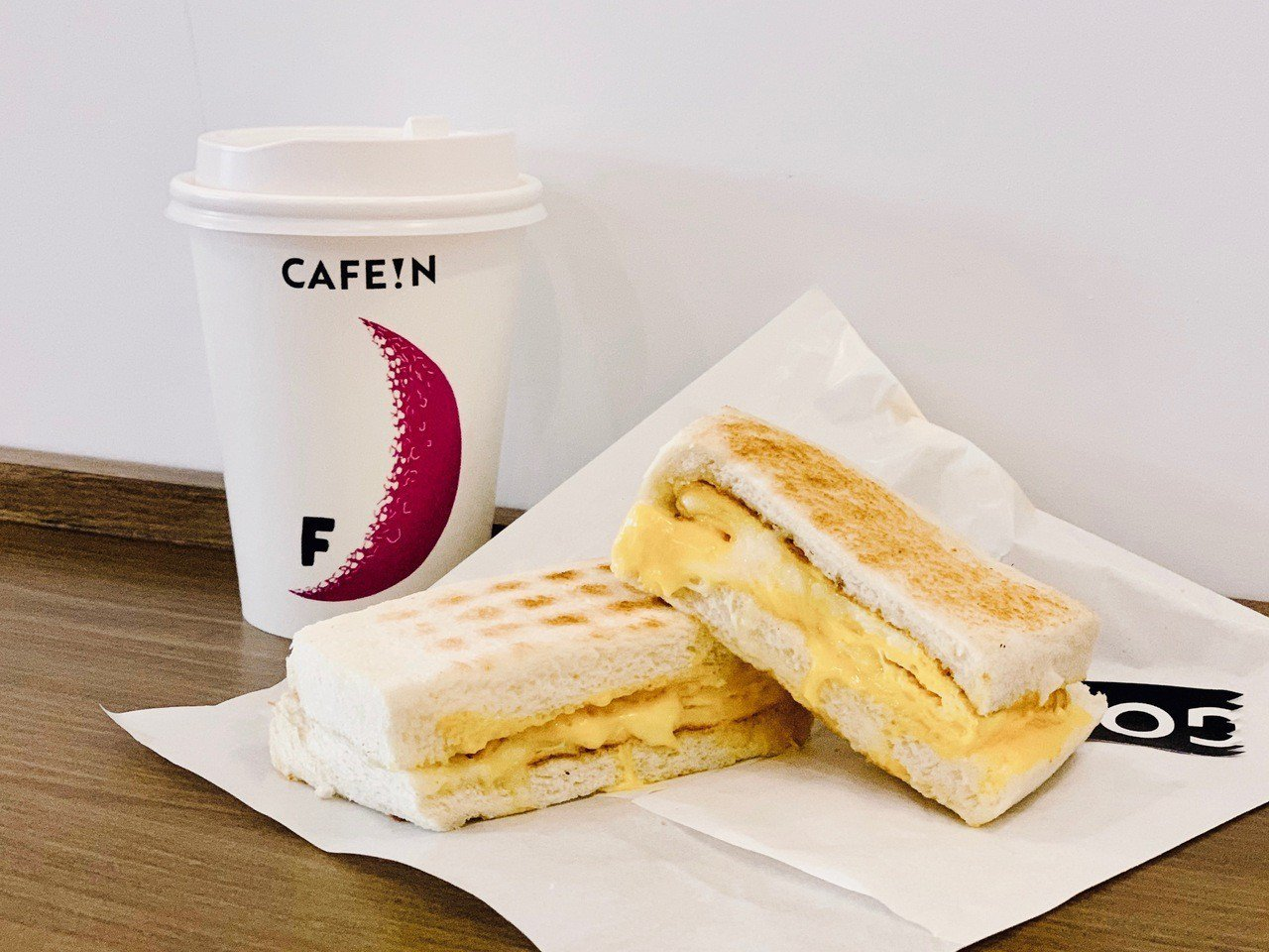 CAFE!N蛋香雙層起司三明治,售價80元。記者張芳瑜/攝影