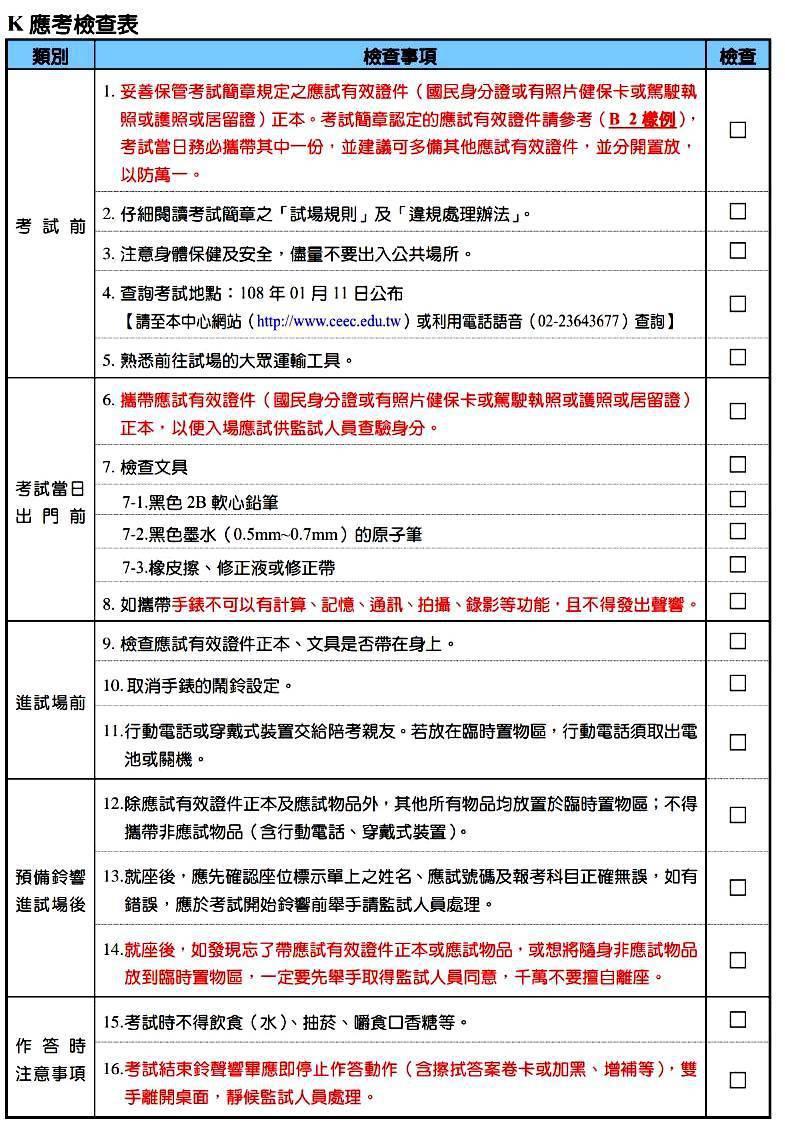 學測周五登場,大考中心製作了一個考前檢查表,提醒考生應考須注意的16件事。圖/翻...
