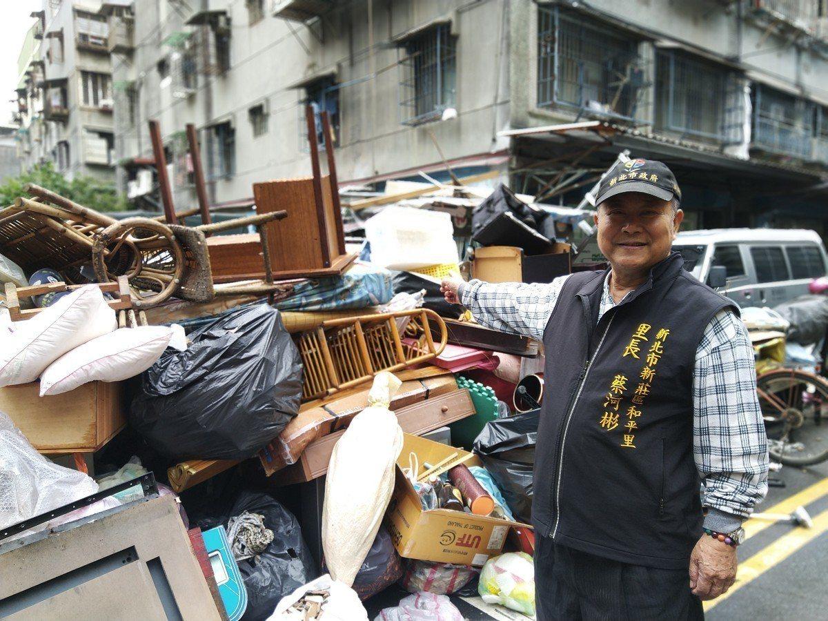 新莊區和平里長蔡河彬將里辦公處對面前的一塊小空地,暫時借出提供給社區居民做為丟棄...