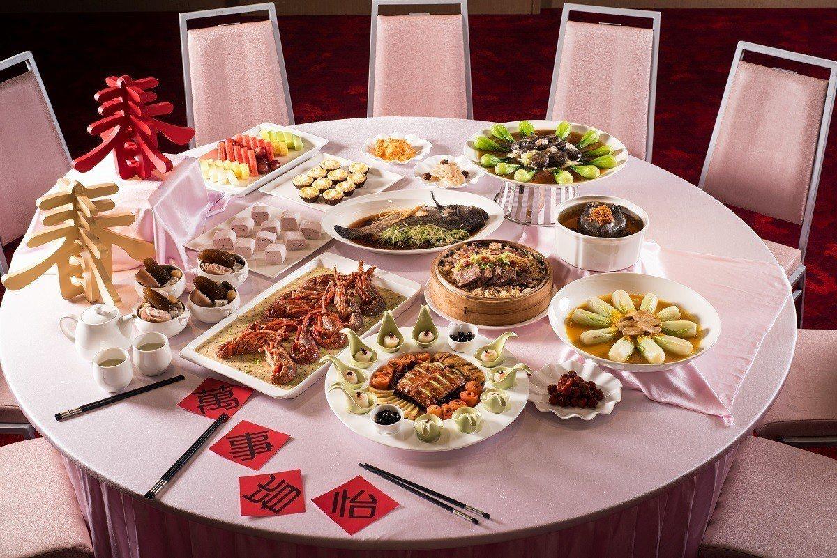 台北六福萬怡酒店則推出館內招牌餐廳粵亮廣式料理主廚團隊所設計的過年美饌菜單。圖/...