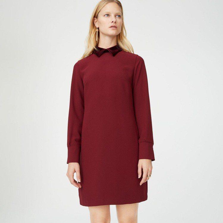 梅根穿的拼接領洋裝,10,900元。圖/Club Monaco提供